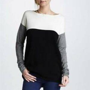 VINCE Colorblock Cotton Lightweight Sweater M